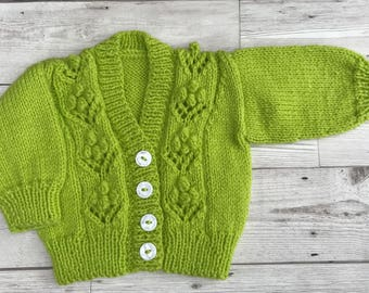 Baby cardigan, baby sweater, hand knitted baby cardigan, apple green baby cardigan, 0-3 months