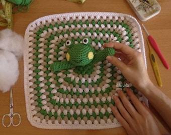 Attachment handmade baby crochet frog blanket
