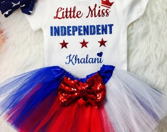 Toddler Girl's 4th of July Outfit Little Miss Independent Independence Day Fourth July tutu - FREE PERSONALIZATION