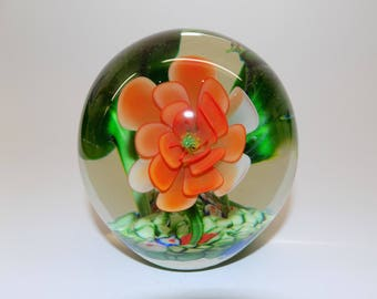 Large, Heavy Vintage Glass Flower Paperweight with Tiny Frog