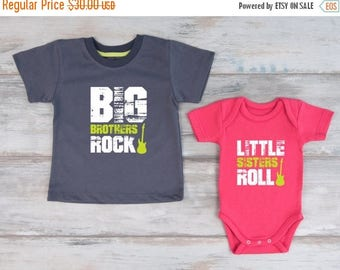 LATE SHIP SALE Big Brother Little Sister Shirts, Big Brothers Rock T-Shirt & Little Sisters Roll Baby Bodysuit Set, Matching Brother Sister