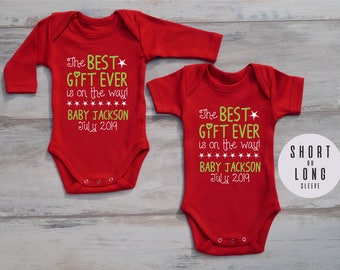 Christmas Pregnancy Reveal to Grandparents, Holiday Pregnancy Announcement to Family, The Best Gift Ever Is On The Way Custom One Piece