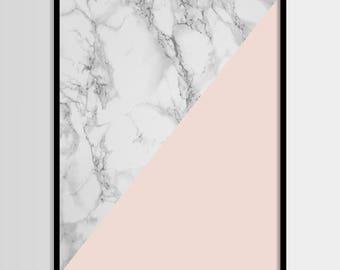 Abstract print, Modern print, Fashion art, Geometric, Pink, Marble print, Digital art, Printable art, Digital Instant Download 11x14, 8x10