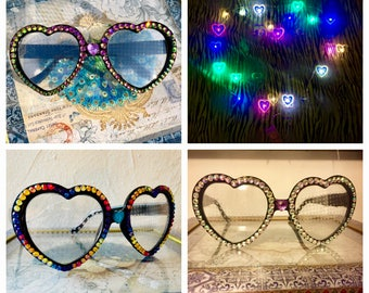 Heart Diffraction Glasses - Light Diffraction lenses - Festival sunglasses - Heart Frame Glasses - Burning Man