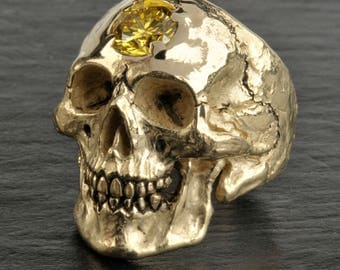 SPECIAL LISTING - Solid 14K gold skull with 2.5 carat yellow diamond