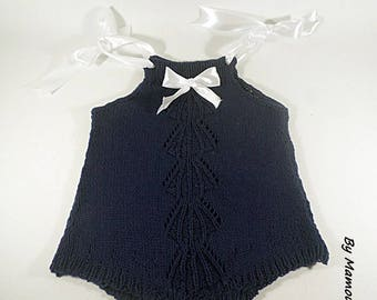 Baby onesie romper (3 months) knitted in 100% cotton Navy Blue and white satin