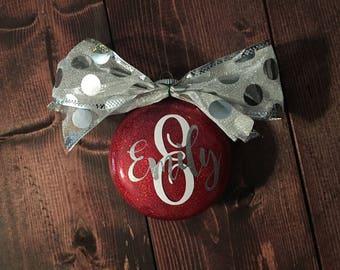 Personalized Monogram Glitter Christmas Ornament