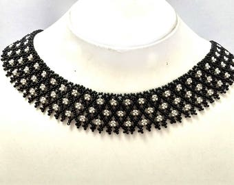 Black Choker Necklace, Seed Bead Necklace, Black and Silver, Black Bead Necklace, Black Necklace, Choker Women, Small Beads Necklace,