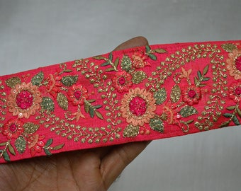Red Indian Laces and Trims Saree Border Fabric Trim By The Yard Embroidered Wholesale Trimmings Ribbon Indian Sari Border Crafting Sewing