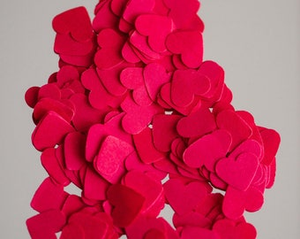 """100 Wedding Heart confetti 1"""", table scatters, Red wedding table decor, cardmaking, heart scatters, Valentine, Baby shower, bridal shower"""