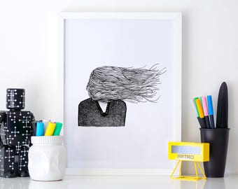 Introvert print A4 wall art, black and white, dotwork, interior wall art, nature print