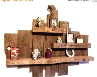 ON SALE Raw Wood Shelf - Reclaimed Wood Shelves - Rustic Wooden Shelves - Pallet Wood Shelf - Wooden Display Shelf - Rustic Home Decor - Raw
