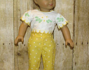 Embroidered Top, Capri Pants, & Espadrilles for American Girl and Other 18 inch Dolls in Yellow and White