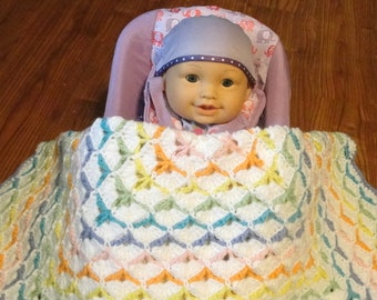 Rainbow Shell Baby Blanket // Crocheted Baby Blanket // Multicolor Baby Blanket // Rainbow Car Seat Blanket // Crochet Crib Blanket