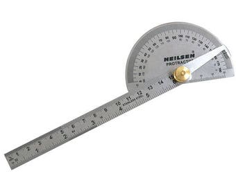 "6"" (150mm) Ruler And Protractor - Imperial & Metric 180 Degree Angle Finder, Measuring Tools CT4290"