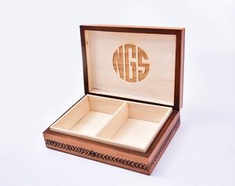 Personalized Playing Card Box, Monogram Box, Poker Card Box, Playing Card Deck Holder, Card Storage Box, Engraved Wood Box, Custom Card Box
