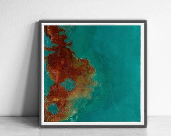 Print, contemporary art, rustic home decor, wall art abstract, digital image, abstract,  turquoise and copper, abstract interior design