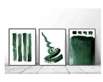set of 3, Downloadable print, Contemporary Wall Art, Minimalist Art , poster ,Printable green art, green and white, scandinavian abstract
