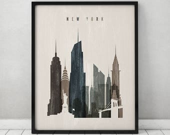 New York art print, Poster, Wall art, travel decor, Distressed, New York skyline, City poster, Typography art, Home Decor, ArtPrintsVicky.