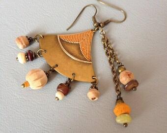 Bohemian earrings, hippie chic, beige, orange, Brown, wood, bones, stones and bronze metal, creating Leamorphoses.