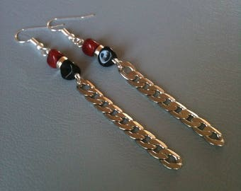 Long dangle earrings, red and black, Lampwork Glass and silver metal chain.