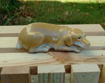 Pottery Golden Labrador Retriever Dog Figurine