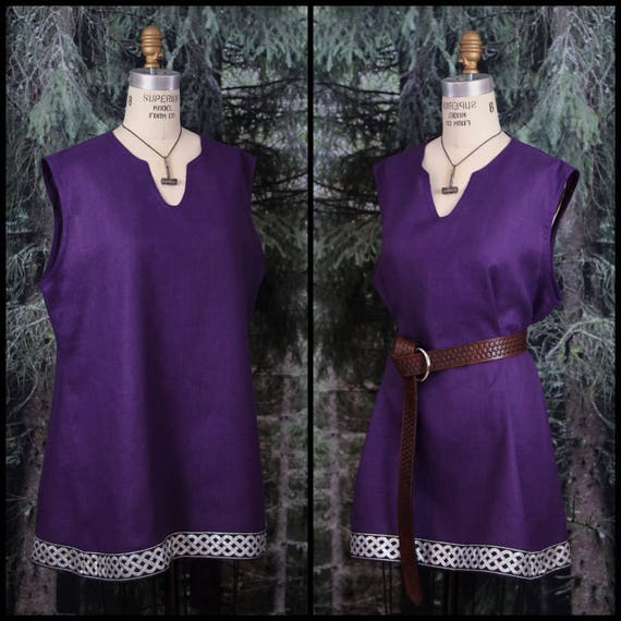 Sleeveless Viking Tunic Linen or Wool Celtic Knotwork Trim, Garb, Norse, SCA, LARP, HEMA, Reenactment, Slavic, Medieval, Renaissance Faire