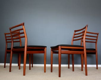 SOLD: Danish Modern Erling Torvits Teak Dining Chairs Retro Vintage Mid Century 50s 60s 70s