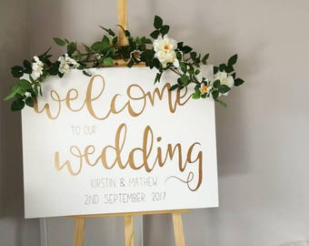 Wedding Welcome sign, reception board, white and gold, wedding decor, welcome to our wedding, rustic wedding, boho wedding