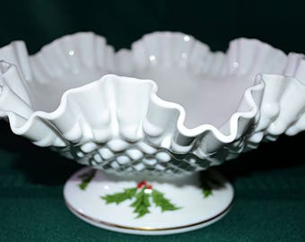 Fenton Milk Glass Hobnail Ruffled Edge Bowl, Fenton Milk Glass Holly Berries Hand Painted Pedestal Bowl