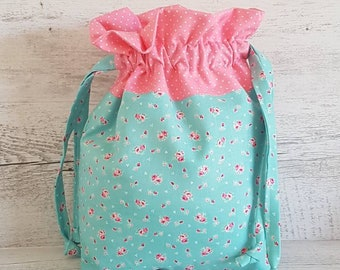 Knitting Project Bag, Floral Drawstring Bag, Sewing Project Bag, Gift Bag, Travel Bag, Storage Basket, Resuable Gift Bag, Shabby Chic Bag.