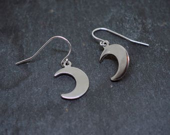 Silver Moon Charm Earrings