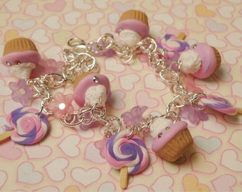 Strawberry Scented Cupcake and Lollipop Flowers Pink Lilac Bracelet