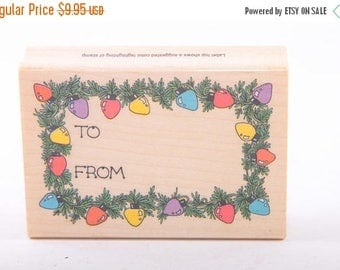 Gift Label, Christmas, Present, Lights, Border, Tag, To, From, Single Stamp, Vintage Rubber Stamp ~ 161002A