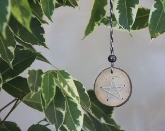 Wooden Slice with Star Decoration