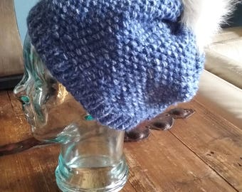 HAT-Denim Slouchy Blue and White hat ribbed brim w REAL FOX Pom Pom-Handmade Knit-Free Shipping-Acrylic-Child to Adult size- Item #1165