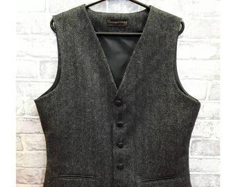 """40""""-42"""" Chest Slim Fit Waistcoat, Men's Grey/Black Herringbone Pure Wool Tweed Vest, Men's Grey/Black Pure Wool Tweed Waistcoat"""