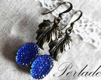Vintage Style Earrings, Cobalt Blue Earrings, Antique Bronze Earrings