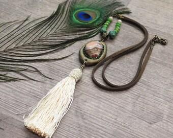 Clearance 50% Off Tassel Necklace,Agate Necklace,Agate Botswana Stone,Gemstone Necklace,Bronze Necklace,Boho Necklace,Bohemian Jewelry