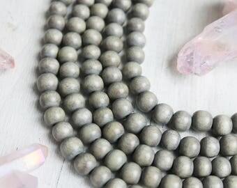 6mm beads, wood beads, round beads, light gray beads, rustic beads, earthy beads, gray beads, full strand,