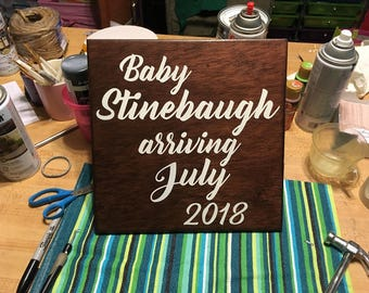 Baby Announcement Sign, Baby Arriving Maternity Photo Prop. Hand Painted Wood Sign with Personalized Last Name and Due Date - Options!