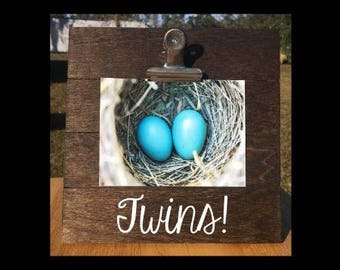 Twins - Siblings - Custom Made - Pregnancy Announcement - Family Gift - Picture/Photo/Ultrasound Clip Frame - Options Available!