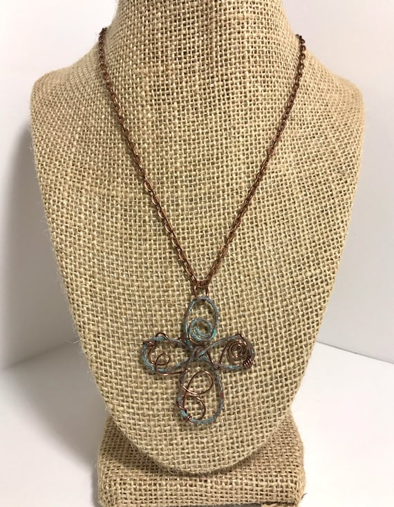 Rustic Copper Celtic Cross with turquoise patina and antique copper vine wrap