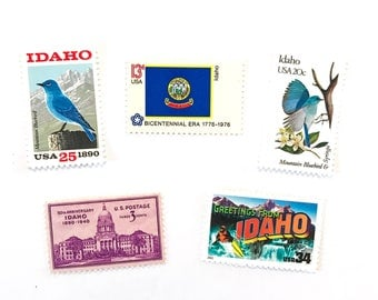 The Idaho Collection - Greetings - Flag - Mountain Bluebird - Boise - Syringa  - UNused US postage stamps - invites, stamp collecting