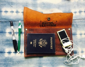 Travel Clutch, Traveling Wallet, Travel Clutch, Hands Free Clutch, Leather Pouch, Travel Pouch, Passport Holder, Travel Wallet, Travel