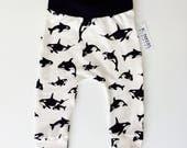 Organic Cotton Baby Harem Pants - Orcas, Killer Whales. Baby leggings, baby harem pants
