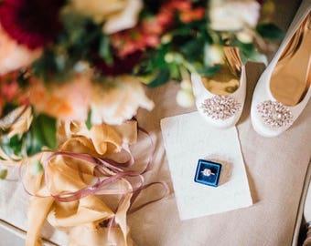 Ring Box - Velvet Ring Box - Vintage Style - Proposal Ring Box - Engagement ring box - Wedding - Personalized Gift - Aqua Blue