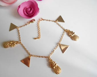 Gold pineapple and diamond chain bracelet