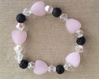 Heart Happy - Aromatherapy Essential Oil Diffuser Bracelet, Lava Beads, Crystal and Quartz