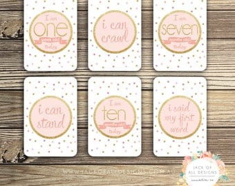 Baby Milestone Cards - Gold Pink - Girl